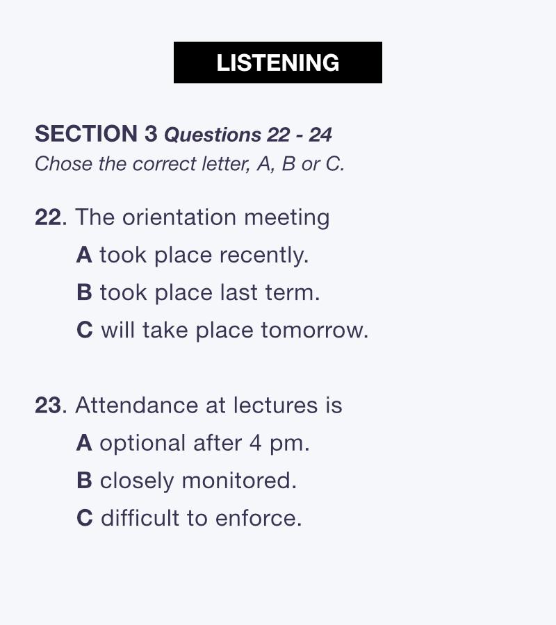 IELTSリスニング対策セクション3サンプル問題