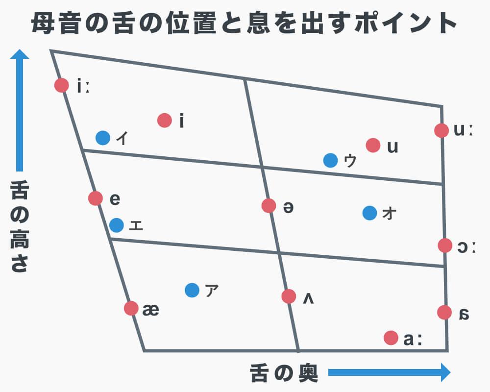 IPAチャート(国際音声記号)による母音を発音するときの舌の位置と息を出すポイント